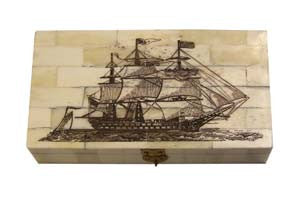 Ship Of The Line Scrimshaw Bone Box
