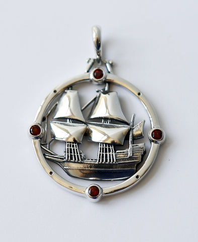 The Mayflower Compass Pendant - Sterling Silver