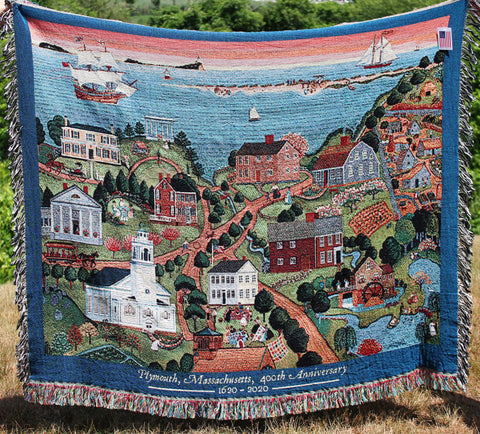 Historic Plymouth, Marie E. Fox, 1987 Throw
