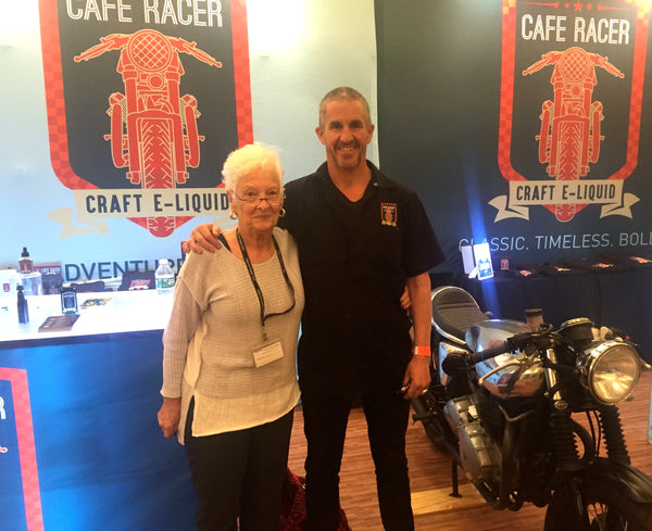 Cafe Racer's CEO Kurt Sonderegger with Mom at the Booth at Vape Northeast