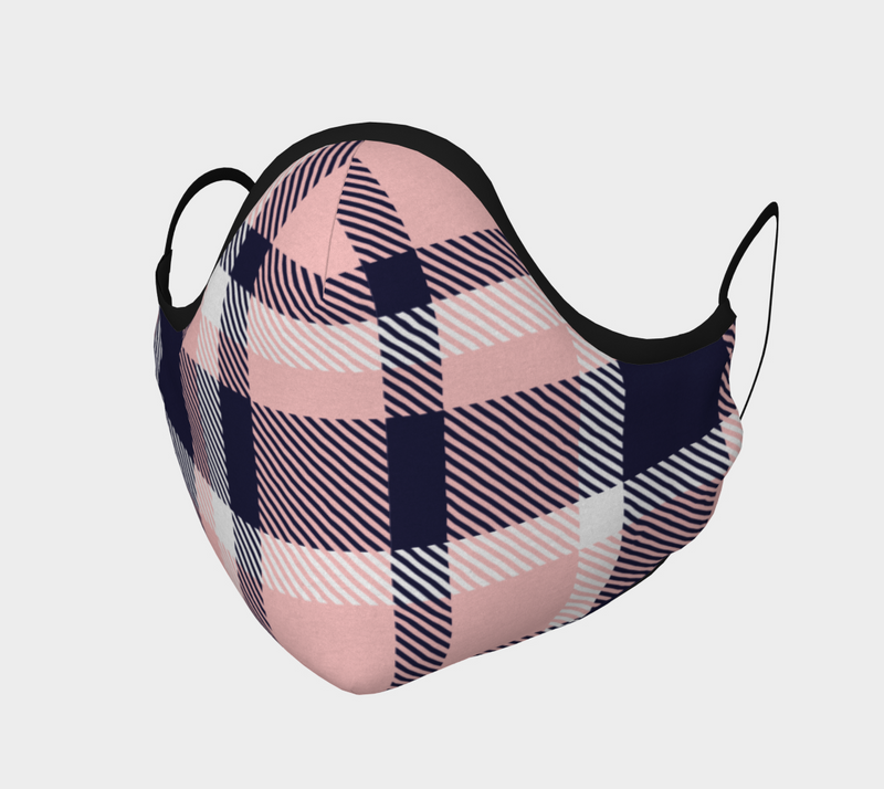 Pink Plaid Face Covering
