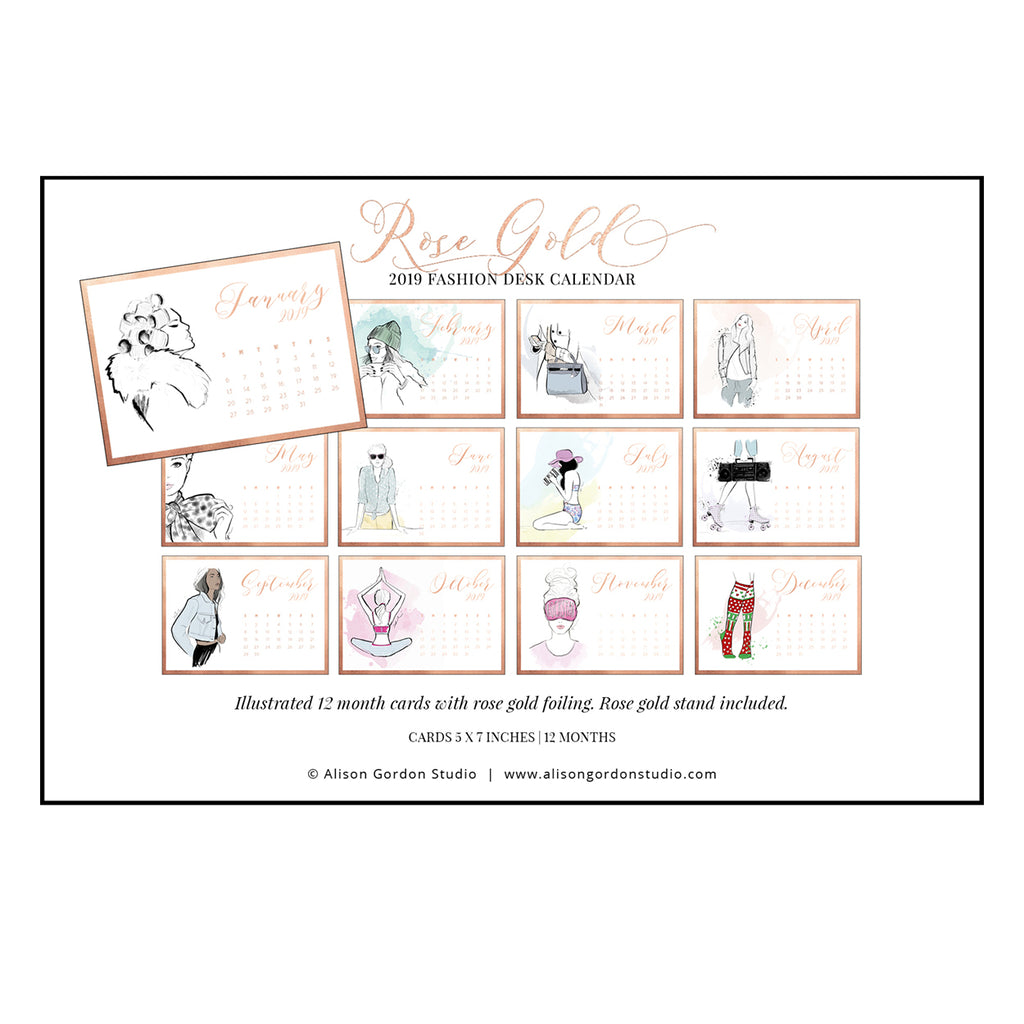 2019 Rose Gold Desk Calendar Refillable Packs