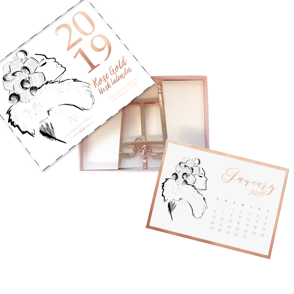 2019 Rose Gold Desk Calendar