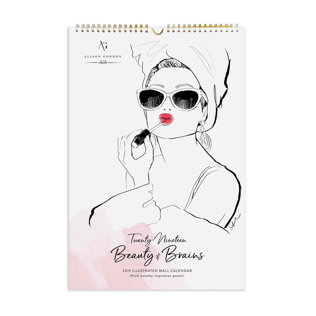 2019 Beauty & Brains Poster Wall Calendar