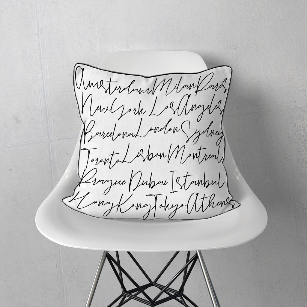 Travel Script Pillow