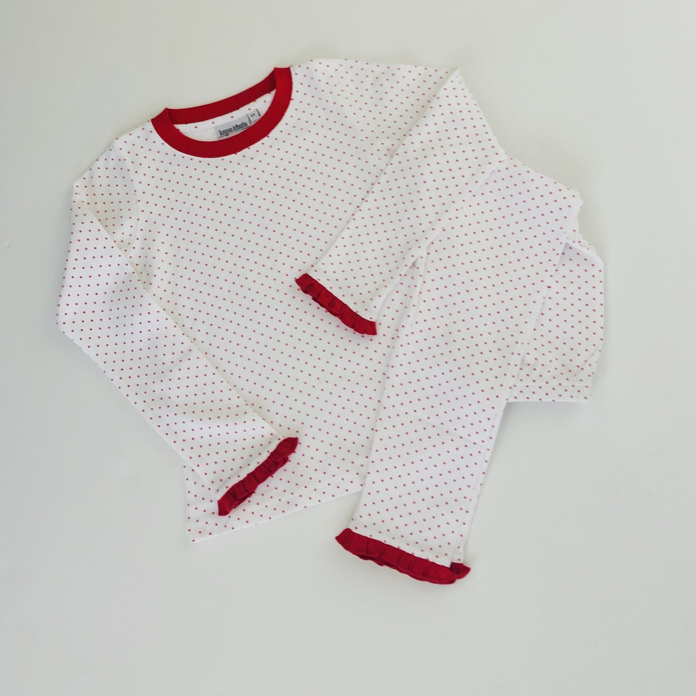 Red Bitty Dot Ruffle Christmas PJs