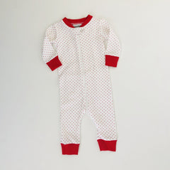 Red Bitty Dot Drop Seat Christmas PJs