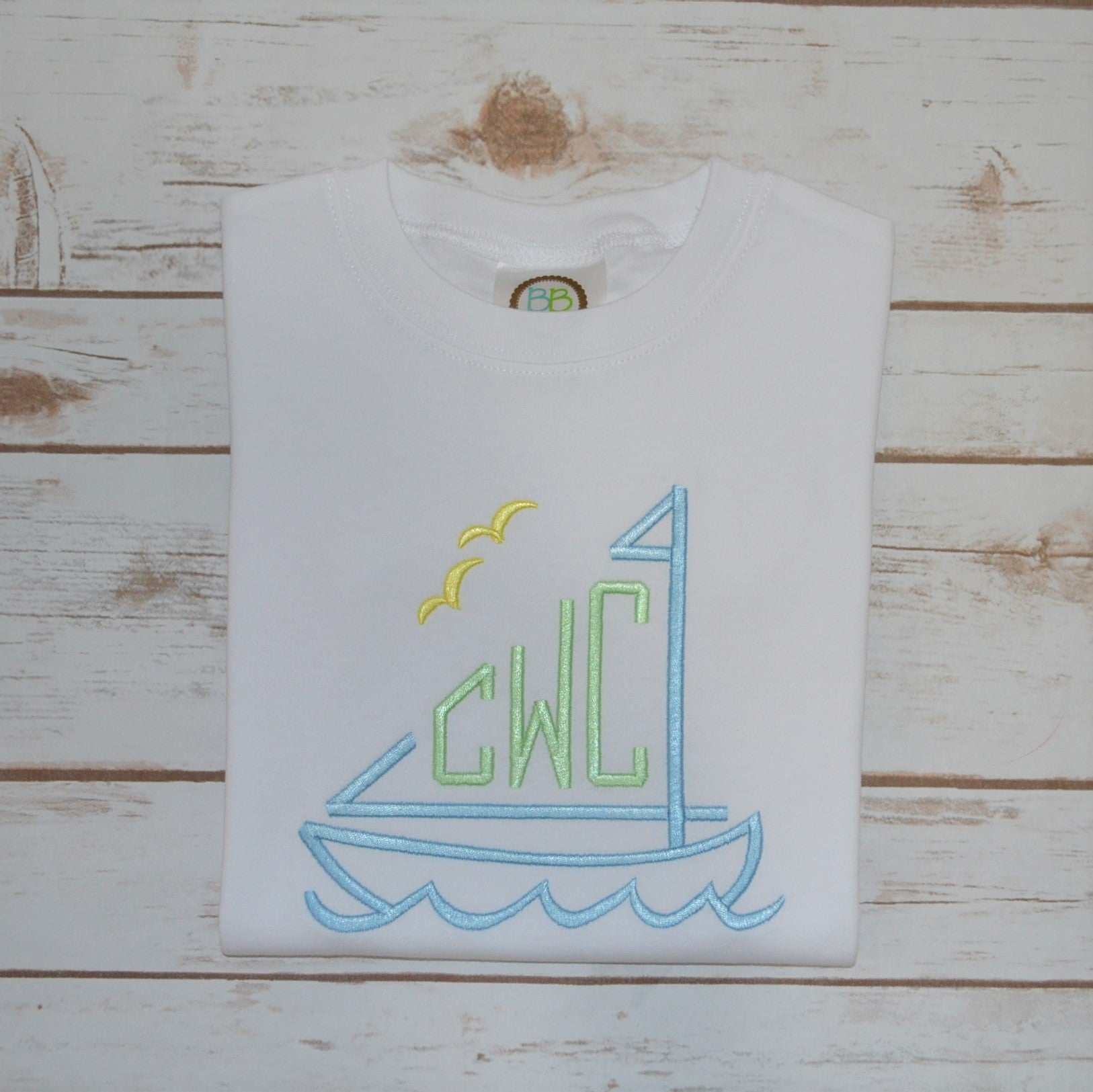 Boy's Sailboat Monogram Shirt