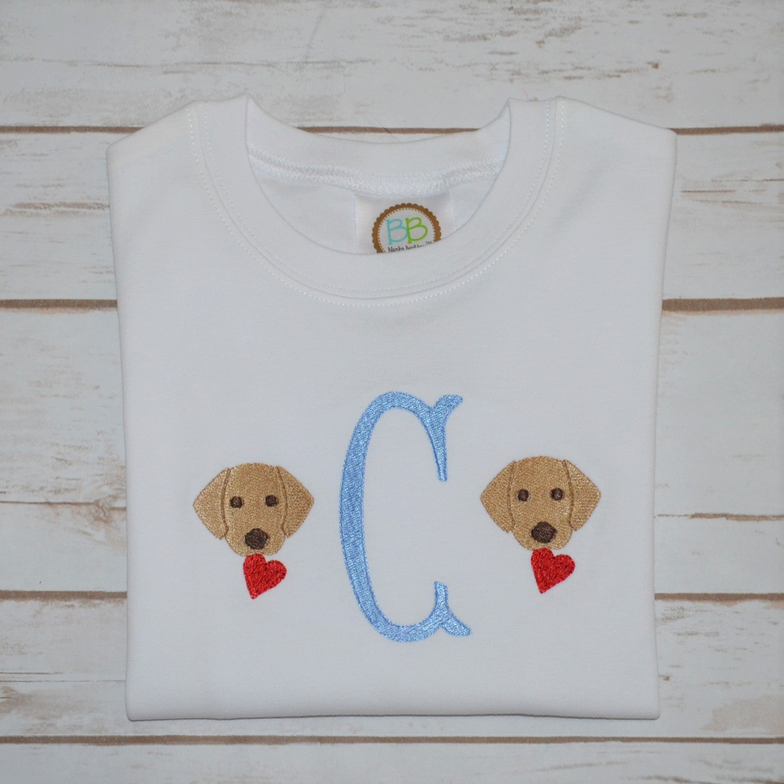 Valentine Initial Lab Dog Shirt