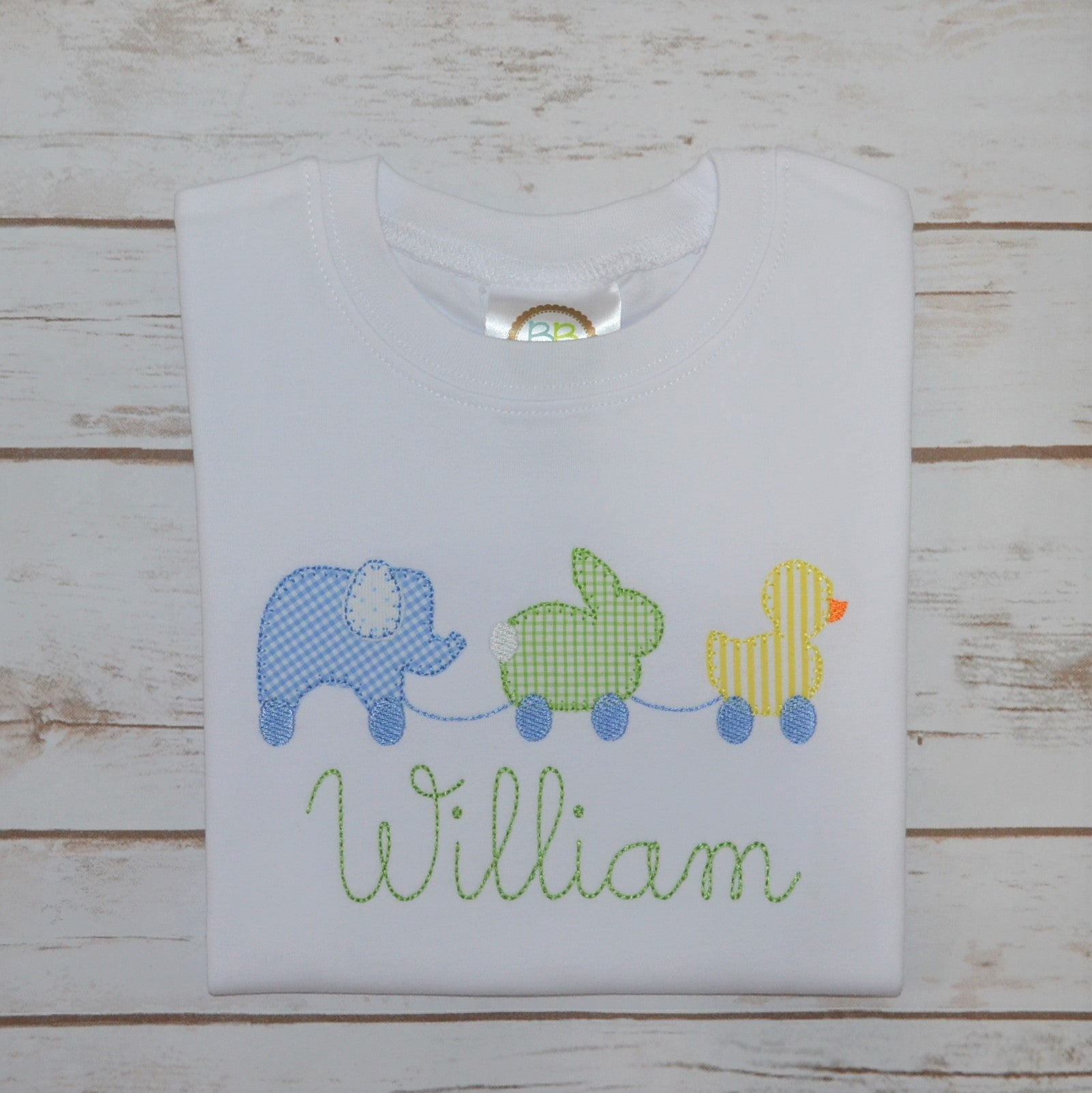 Boy's Elephant, Bunny and Duck Pull Toy Shirt