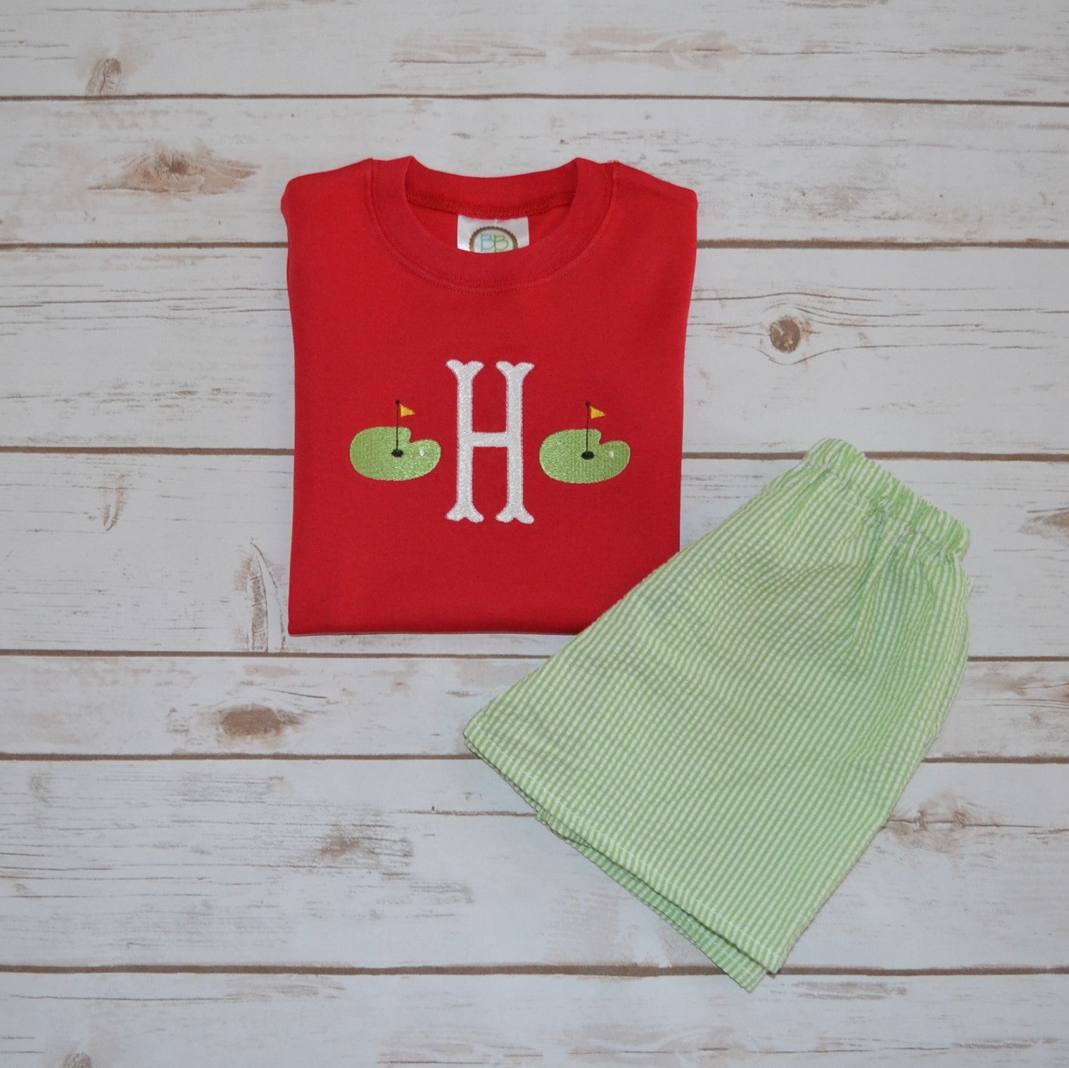 Boy's Initial Golf Green Shirt
