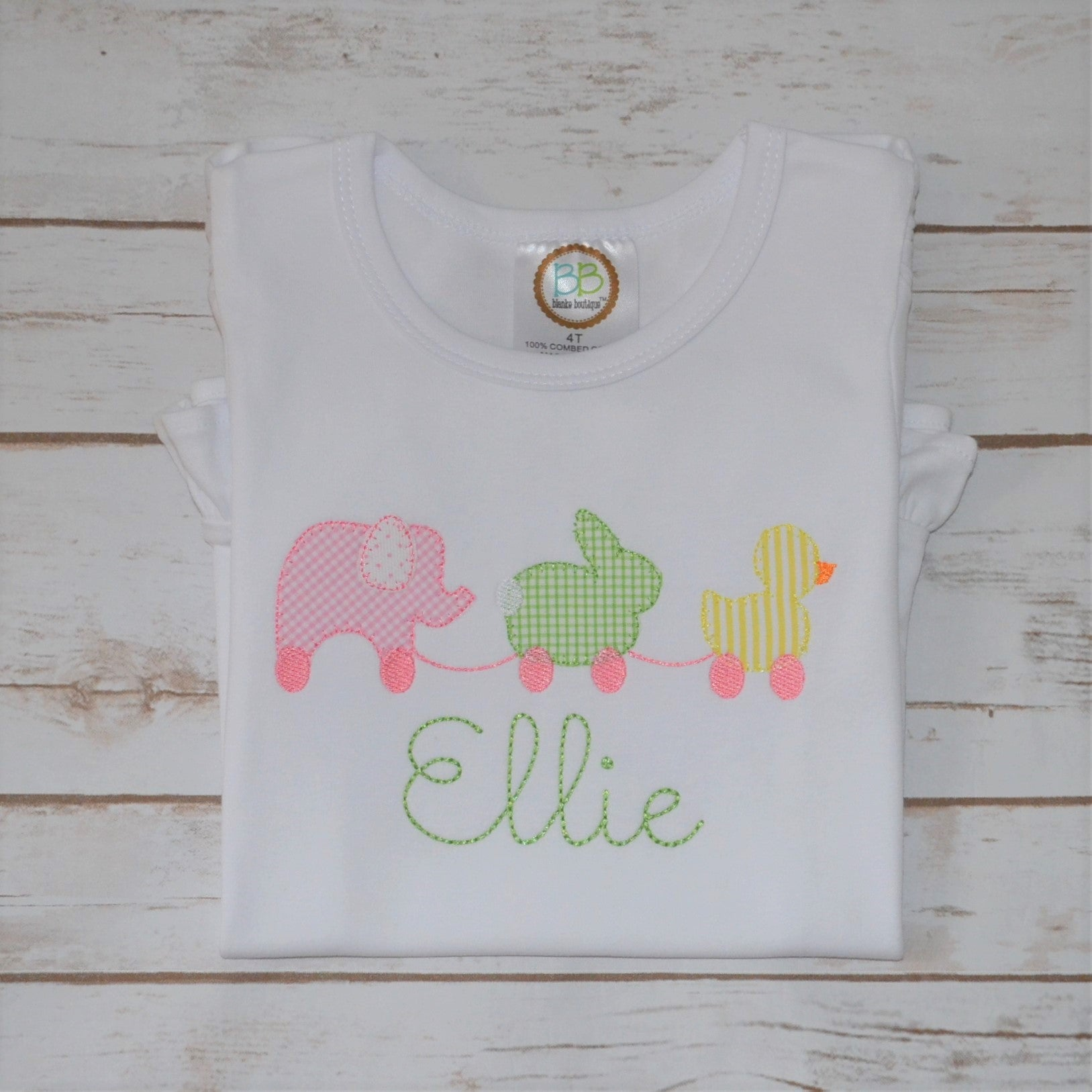 Girl's Elephant, Bunny and Duck Pull Toy Shirt