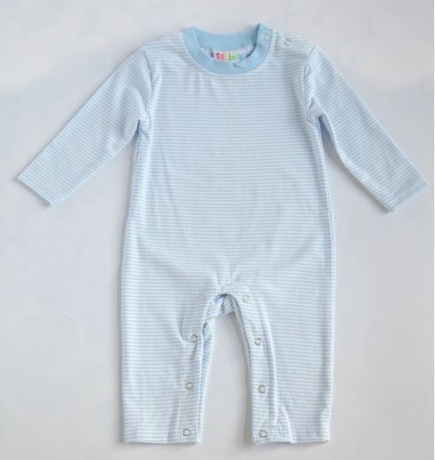 Light Blue Striped Romper