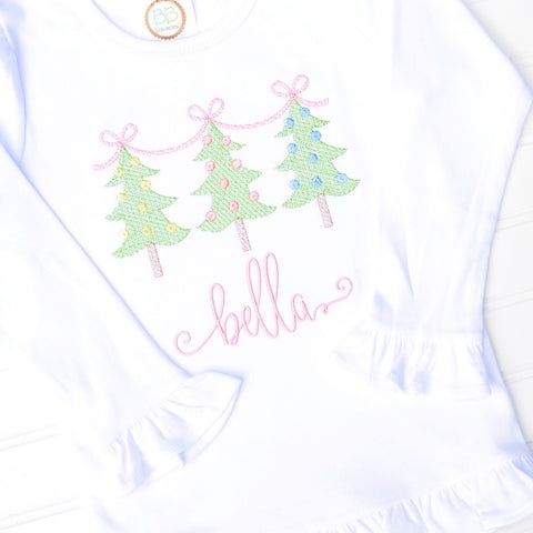 Girls Bow Christmas Tree Trio Shirt