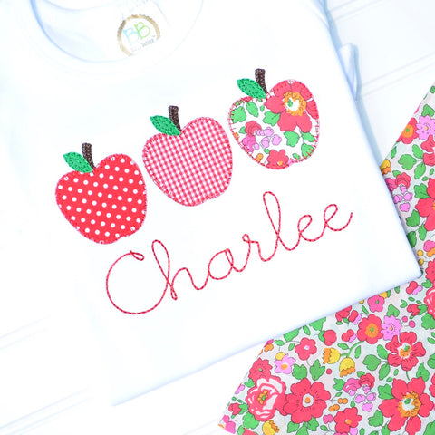 Girls Apple Trio Appliqué Shirt