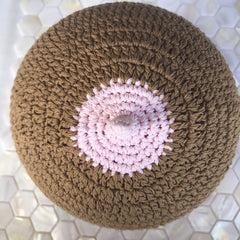 Boob Beanie - Hand Knitted Boobie Beanie Chocolate with a Pink Tip