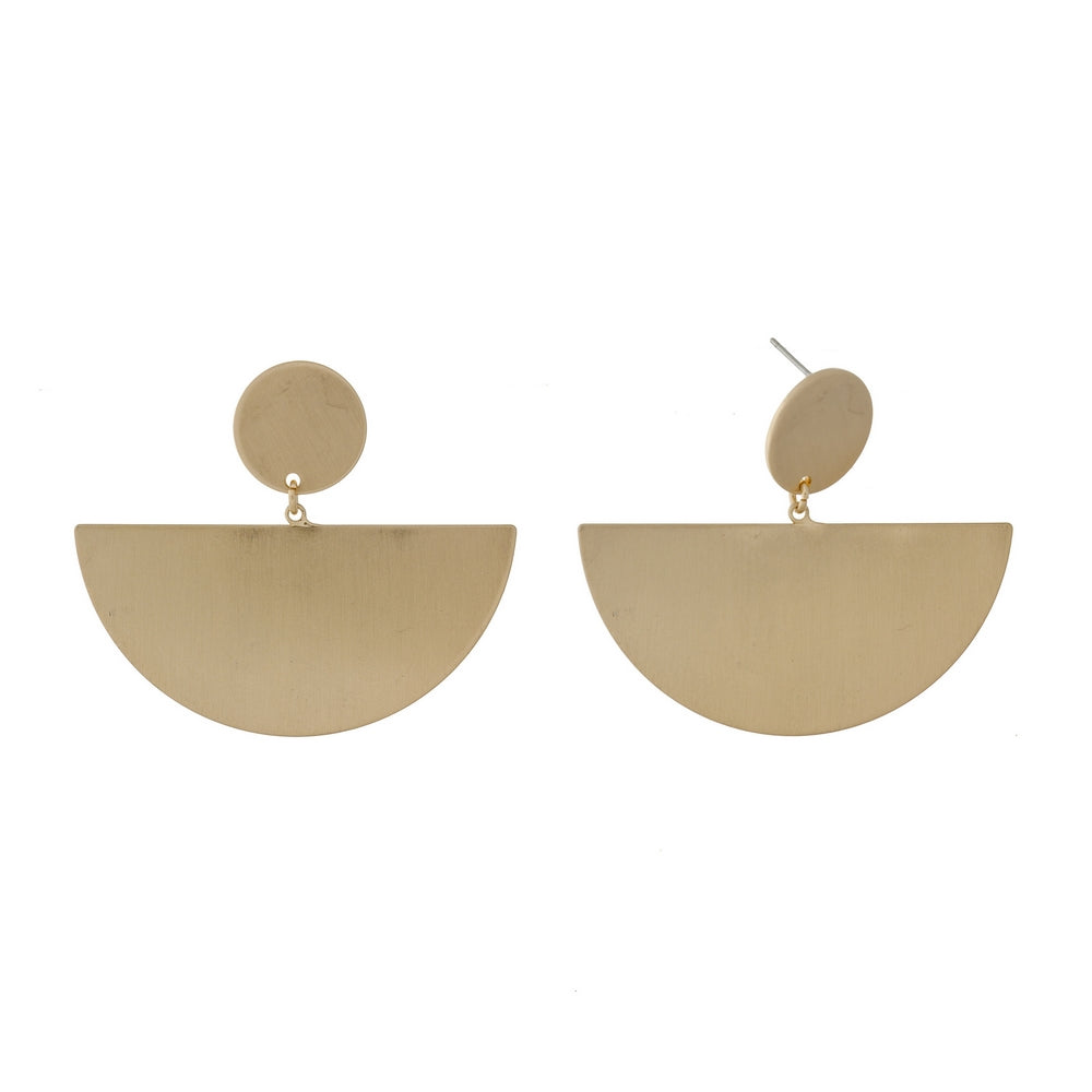 Brushed Brass Geometric Earrings