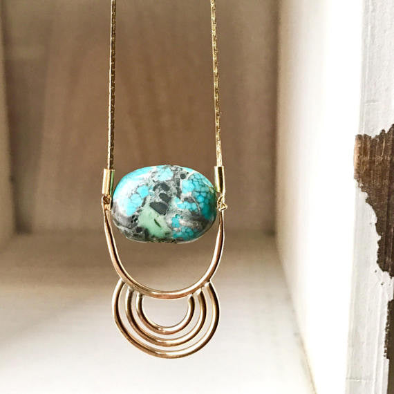 P a s s a g e Tribal Inspired Turquoise Rings Pendant