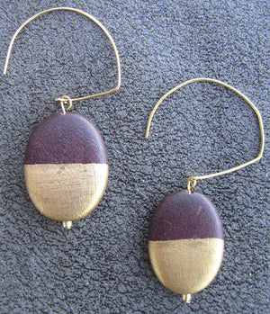 J3 Brown & Gold Wooden Earrings