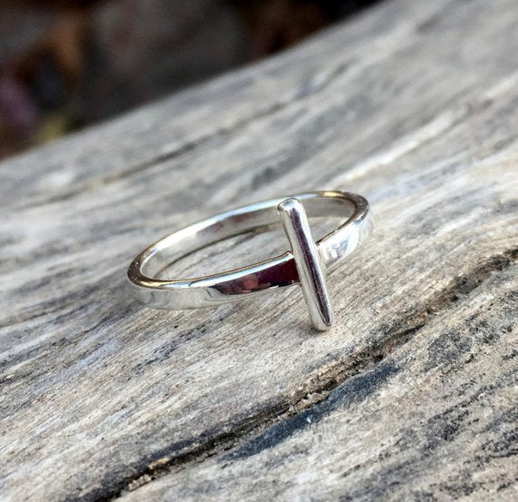 Single Bar Sterling Silver Ring