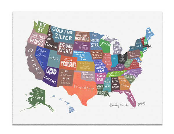 Map Of The Fifty United States And Their Mottos