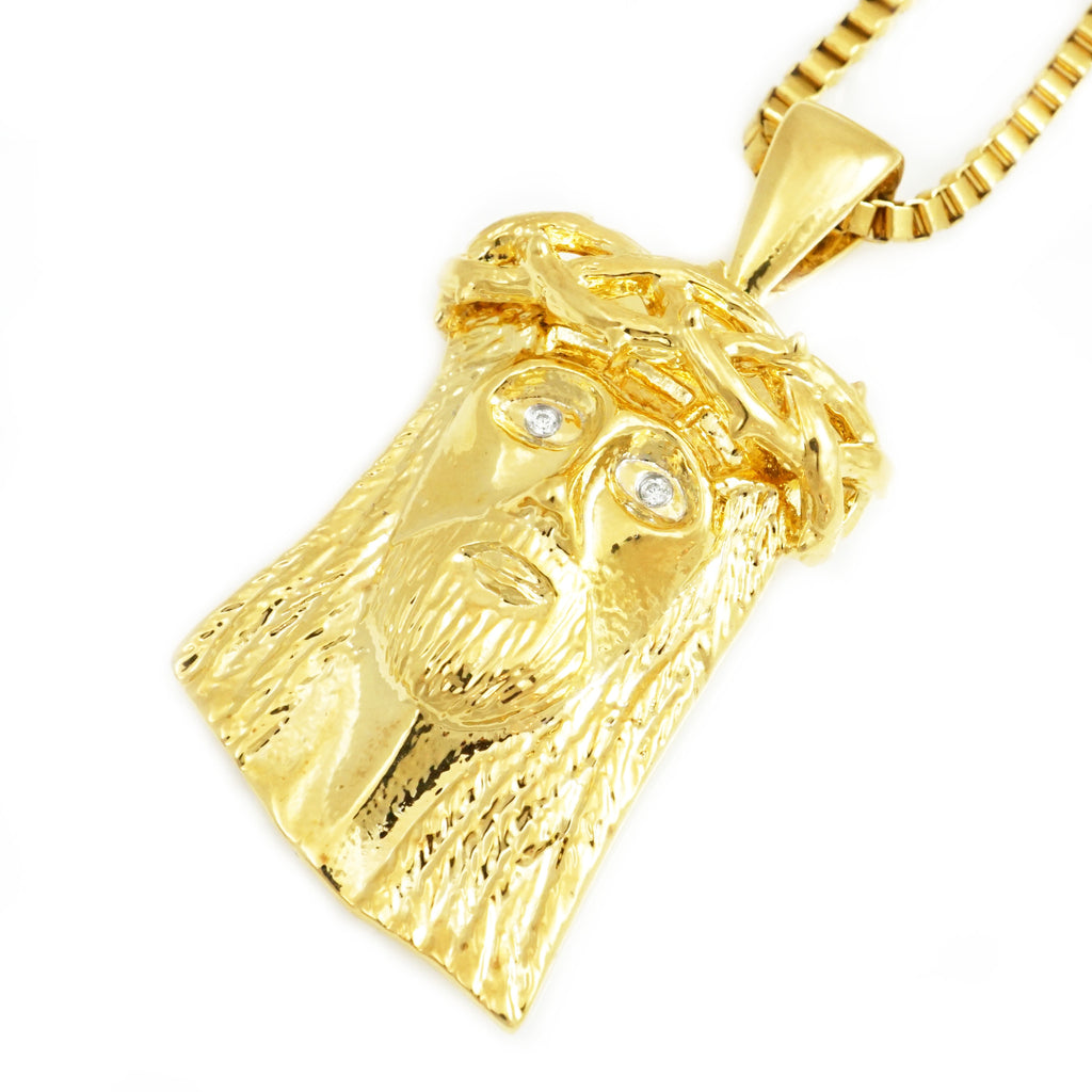 jesus diamond ct yellow gold pendant mens christ face