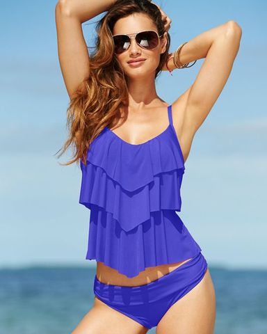 KENNETH COLE REACTION  Tiered Ocean Tankini Set