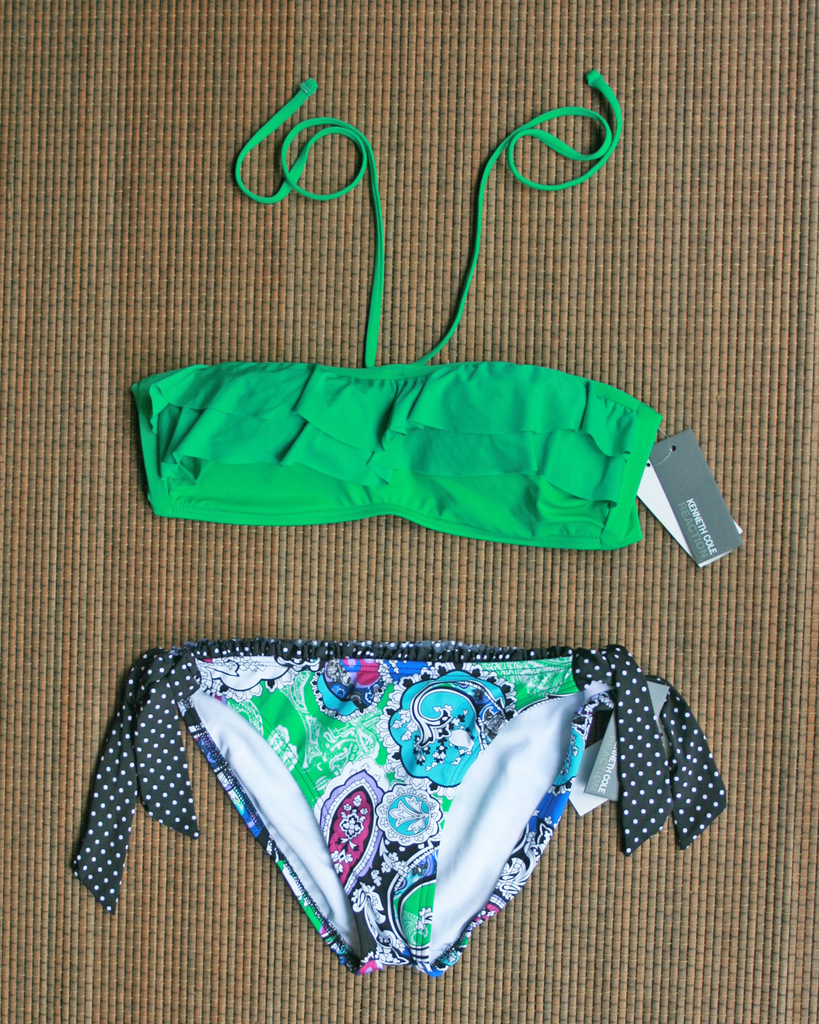KENNETH COLE Green Paisley Bikini Set