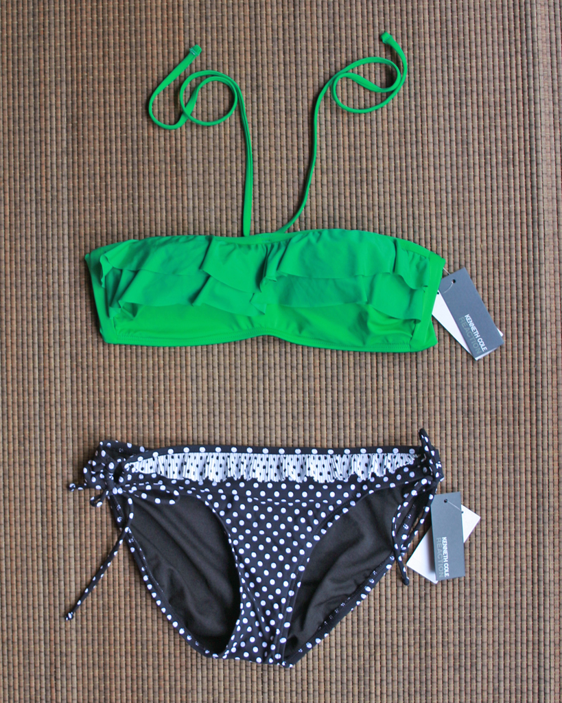 KENNETH COLE Green + Polkadot Bikini Set