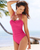 LA BLANCA Pink Shirred Halter Neck Swimsuit Swimwear Brand Sale New Zealand, specialising in closeout women's togs bikini tankini and swimsuit NZ Fast Delivery
