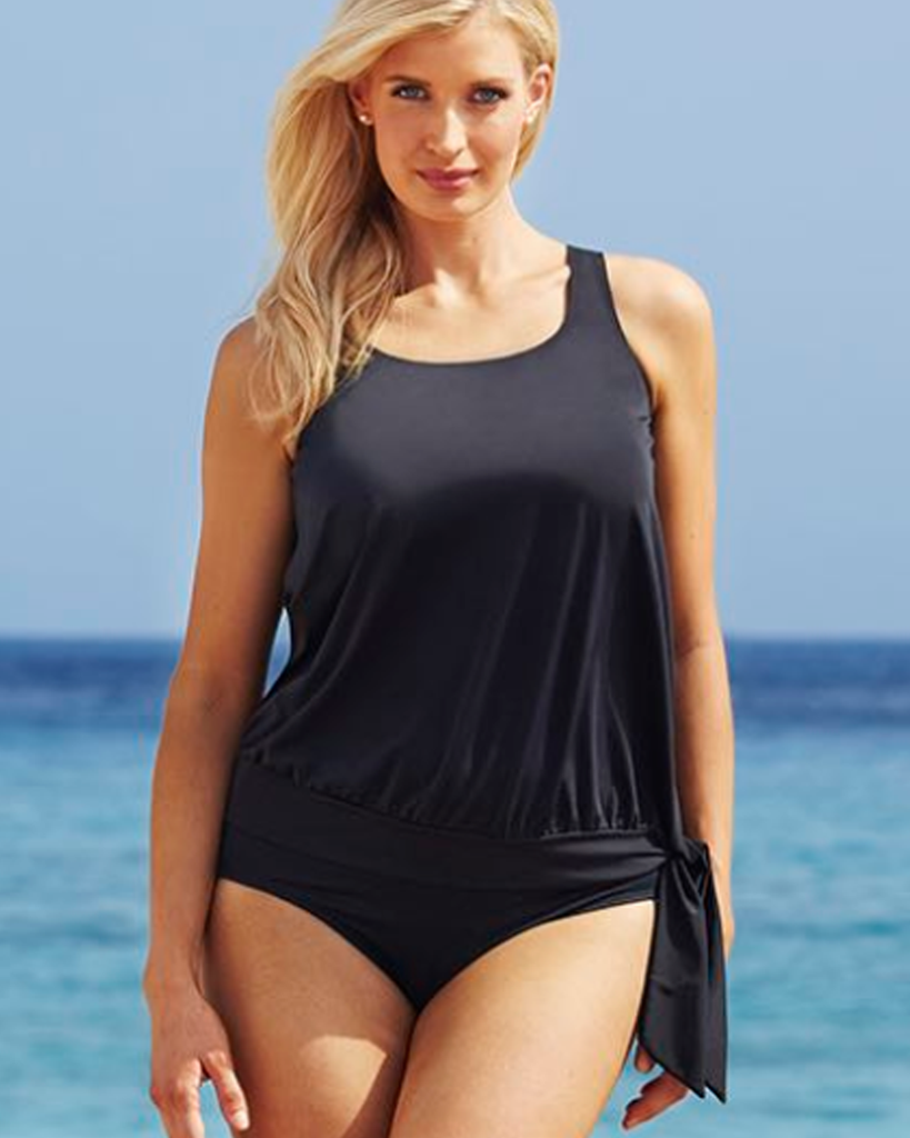 SWIM SOLUTIONS Black Blouson Tankini set Swimwear Brand Sale New Zealand, specialising in closeout women's togs bikini tankini and swimsuit NZ Fast Delivery