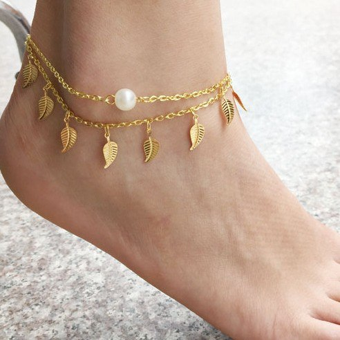 e819d1ed85b New Sexy Gold Pearl Leaf Chain Beads Anklet - Trendysavers