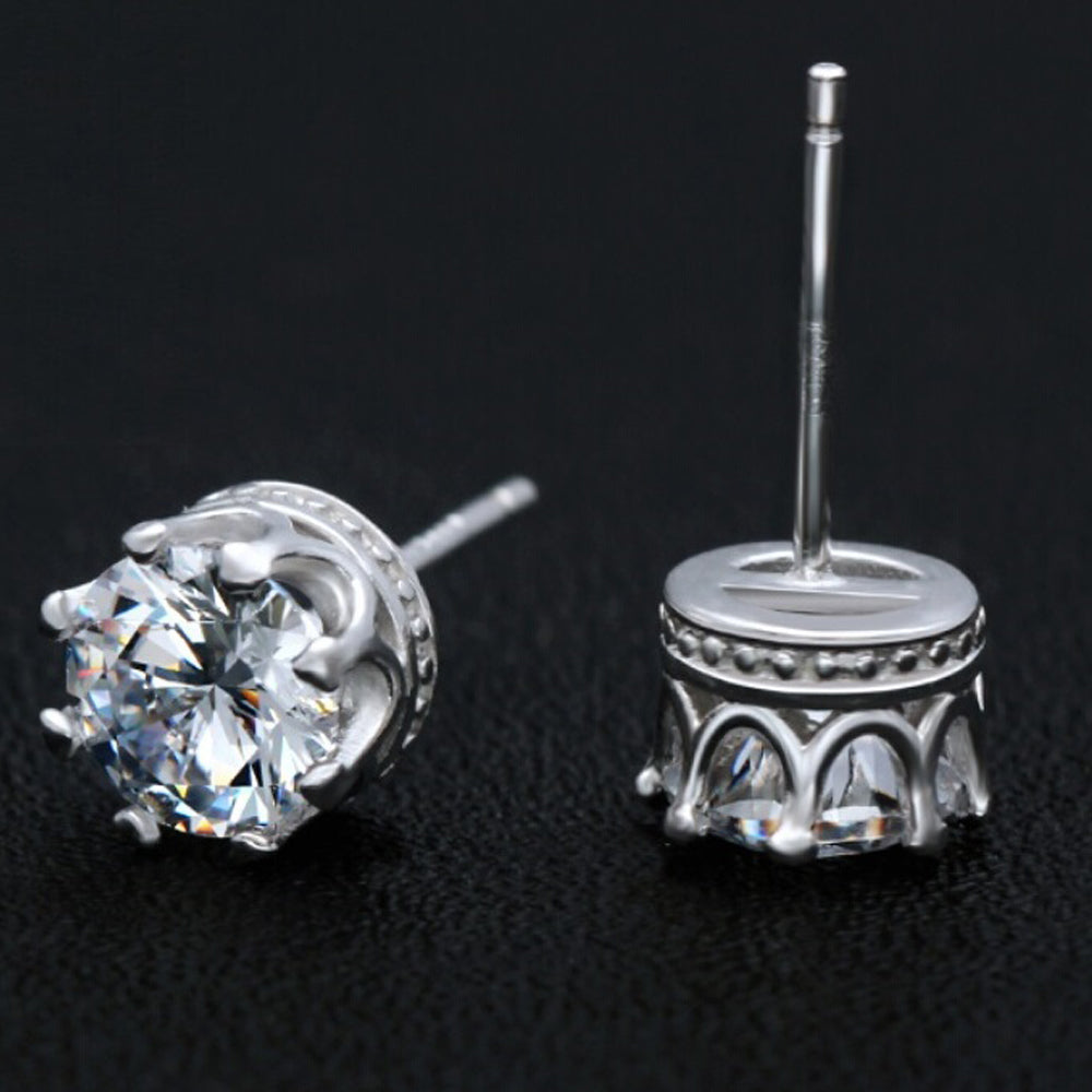 crystal etify stud earrings crown featured products