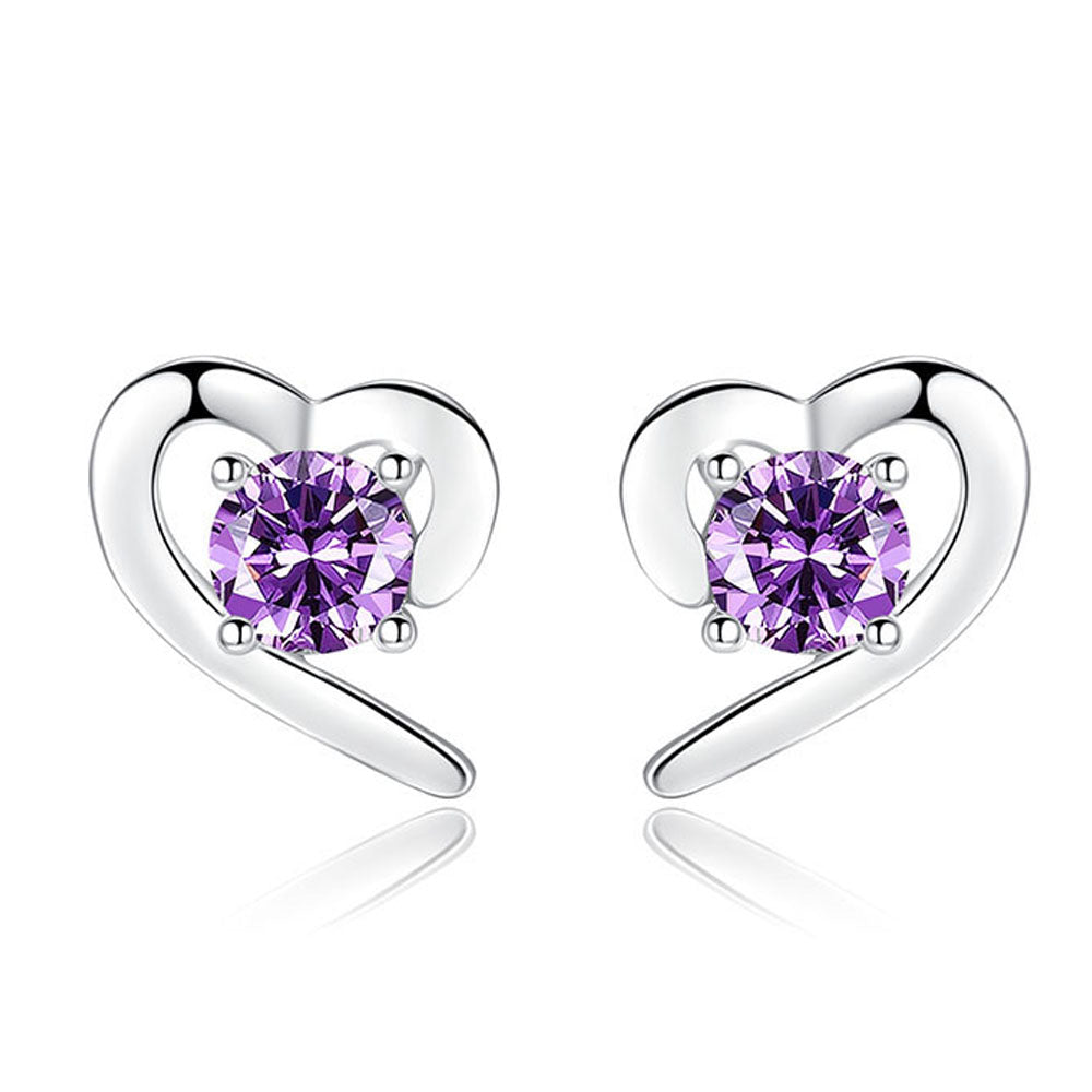 stud style women plated fashion platinum ear shaped silver earrings heart store zircon earring for cubic product sanbuzhi