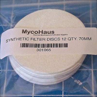 "12 QTY, 70mm ""Regular Mouth"" Synthetic Filter Discs"