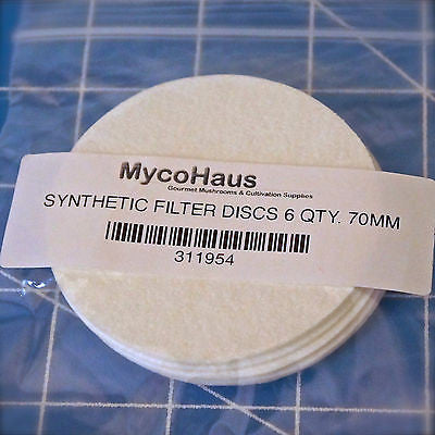 "6 QTY, 70mm ""Regular Mouth"" Synthetic Filter Discs"