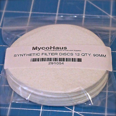 "12 QTY, 90mm ""Wide Mouth"" Synthetic Filter Discs"