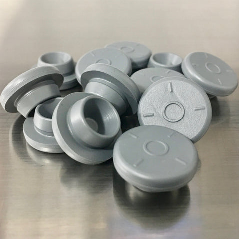 12 QTY, Gray Rubber Bottle Stoppers, Self Healing Injection Ports