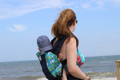 Back Carrying in your Kinderpack- Babywearing at the Beach