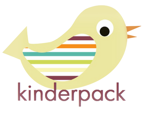 Kinderpack Logo. A yellow bird with a multi-colored wing in teal, orange, maroon, green, and yellow. The word Kinderpack is under the bird in Maroon.
