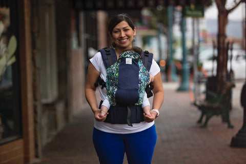 Aqua Bubbles w Navy Koolnit Mesh - Standard Soft Structured Baby Carrier