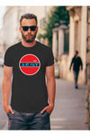 mens t-shirt with red white and blue logo