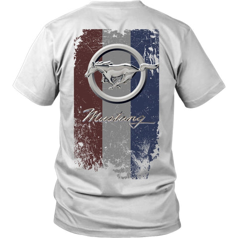 T-shirt - Mustang Running Pony Red White Blue
