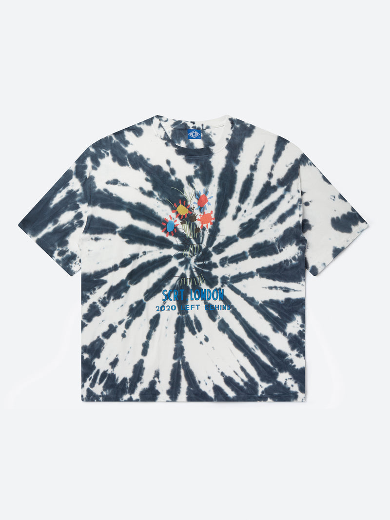 Flowers Tie Dye T-Shirt - Blue Swirl
