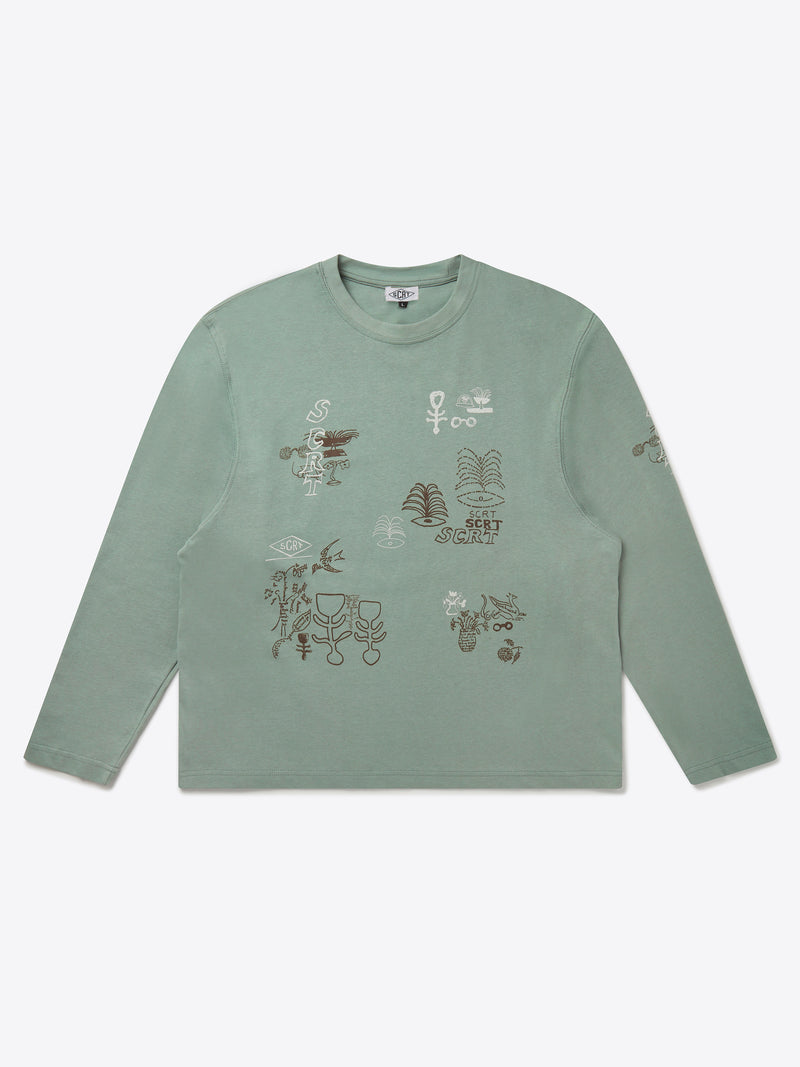 Abstract Long Sleeve - Iceberg Green