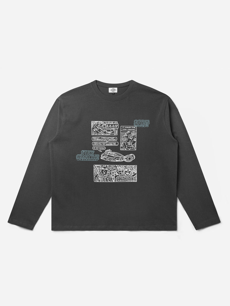 Comic Long Sleeve - Charcoal