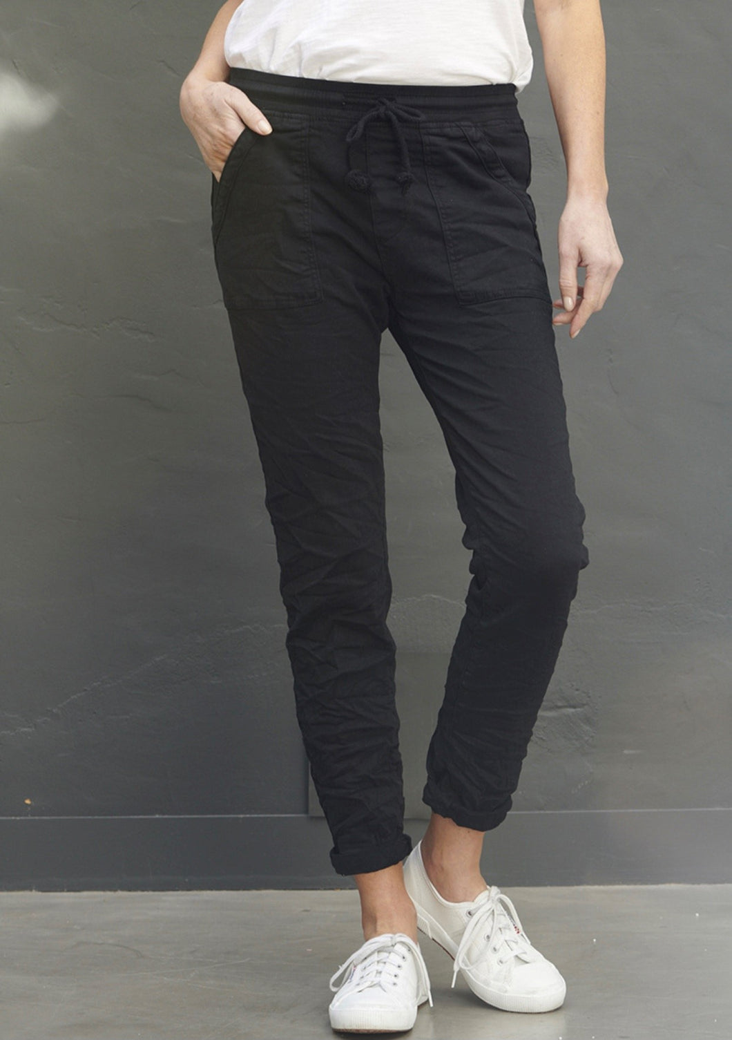 Classic Polo Drill Jogger Black - ITALIAN STAR