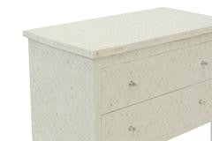 Bone Inlay Geometric 2 Drawer White
