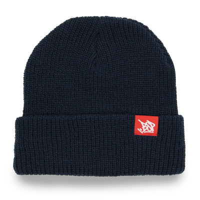 Cuff beanie Navy with red woven label