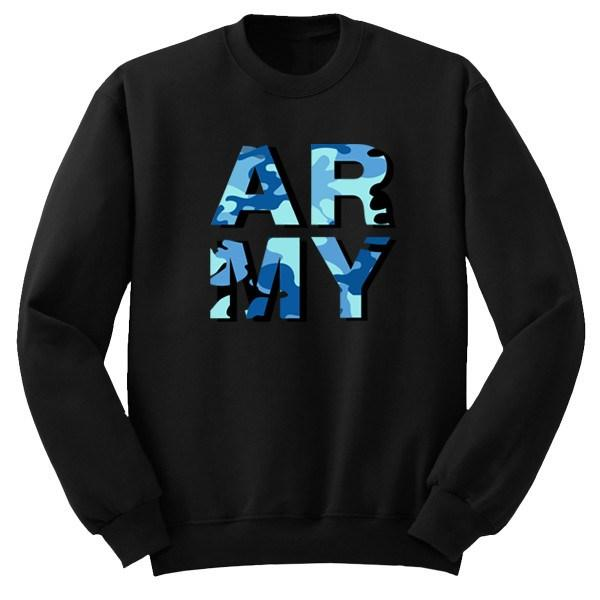 ARMY Camo Crew Crews AKP Unisex Black Small